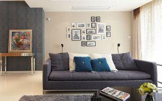 现代简约风格别墅奢华灰色沙发背景墙沙发效果图