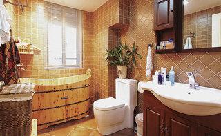 美式风格三居室咖啡色120平米卫生间设计