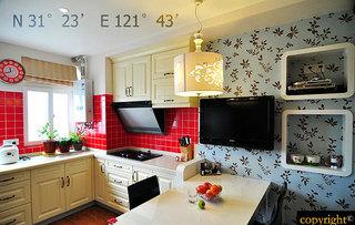 现代简约风格小户型小清新60平米厨房设计图