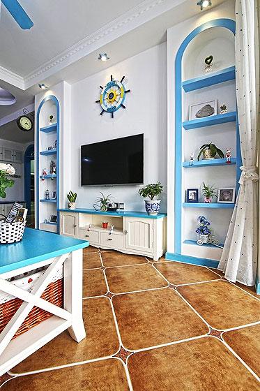 地中海风格一居室小清新蓝色电视背景墙电视柜效果图