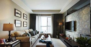 美式风格二居室小清新客厅80后家装图片