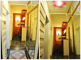 混搭风格两室一厅小清新70平米玄关二手房设计图纸