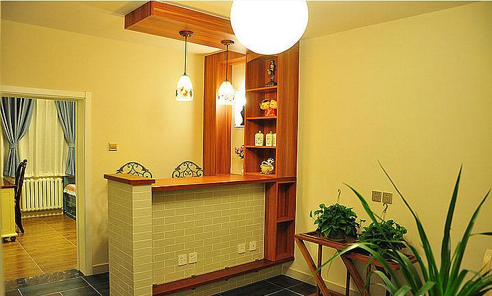 混搭风格两室一厅小清新70平米吧台二手房家居图片