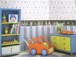 蓝色上下墙腰线搭配 儿童房卧室壁纸