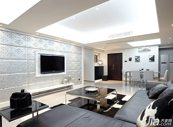 和空间简约现代化的设计相符,是富有科技感的简欧电视背景墙,独具一格图片