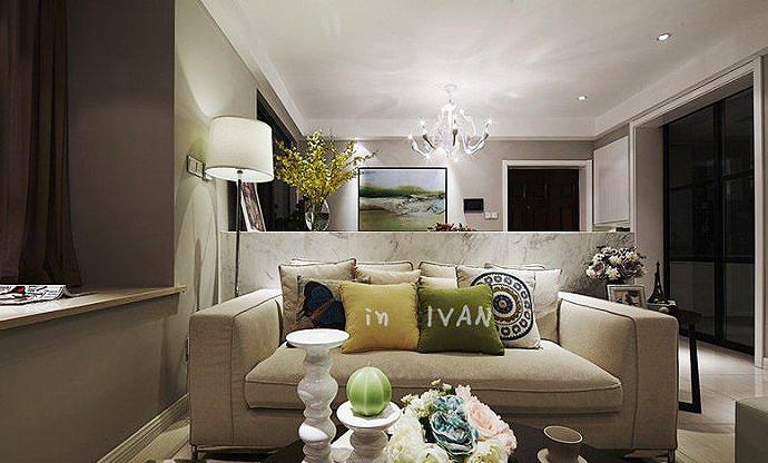 现代简约风格小户型小清新90平米客厅装修图片高清图片