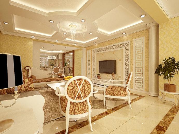 欧式风格公寓奢华140平米以上餐厅吊顶壁纸效果图