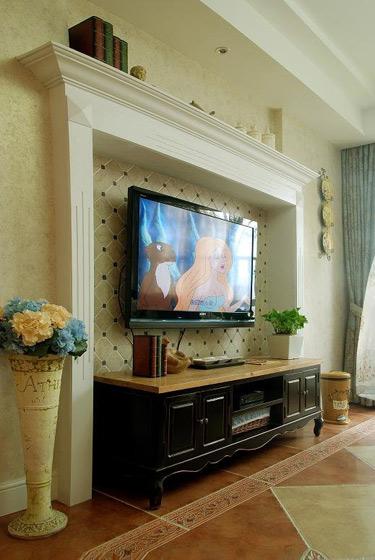 美式乡村风格四房小清新140平米以上电视背景墙设计