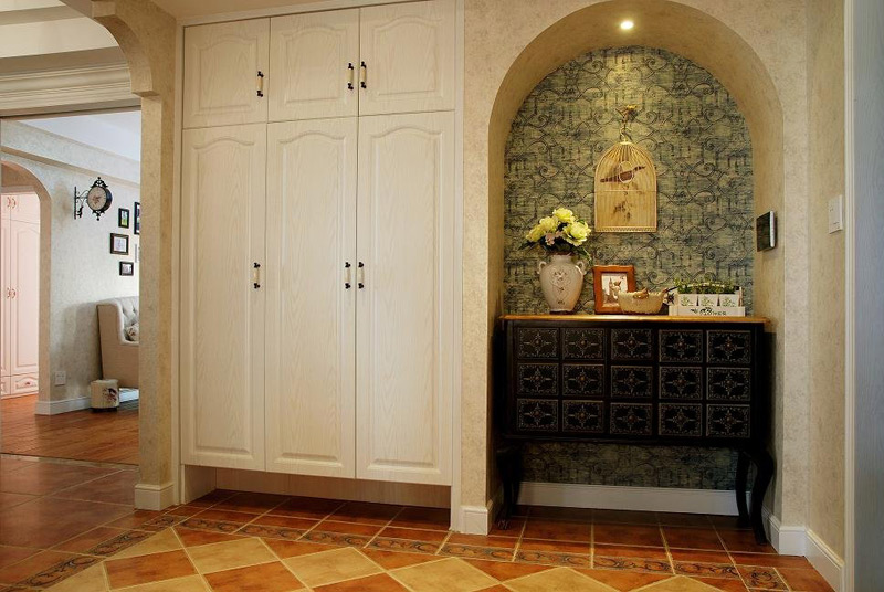 美式乡村风格四房小清新140平米以上玄关玄关柜图片