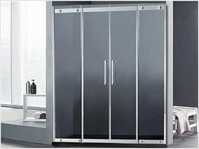 不锈钢两固两活推拉门屏风淋浴房