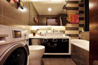 简约风格时尚黑白80平米卫生间婚房家装图片