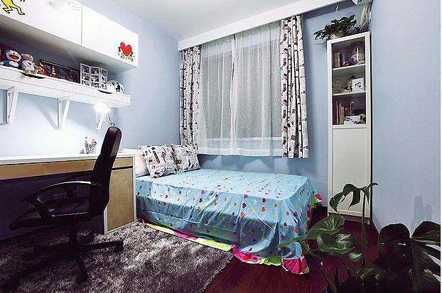 美式风格二居室温馨60平米客厅装修_齐家网装修效果图图片