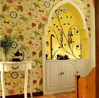 东南亚印花客厅卧室壁纸