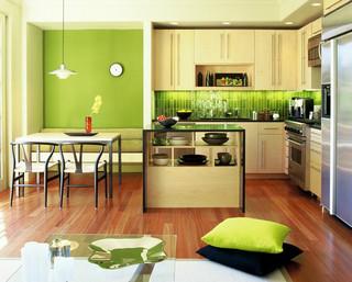 14款清新绿色 厨房装修效果图