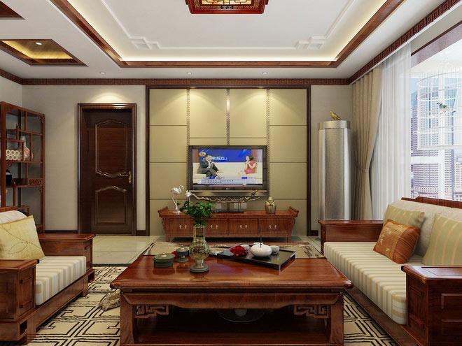 中式风格公寓古典130平米电视背景墙装修图片