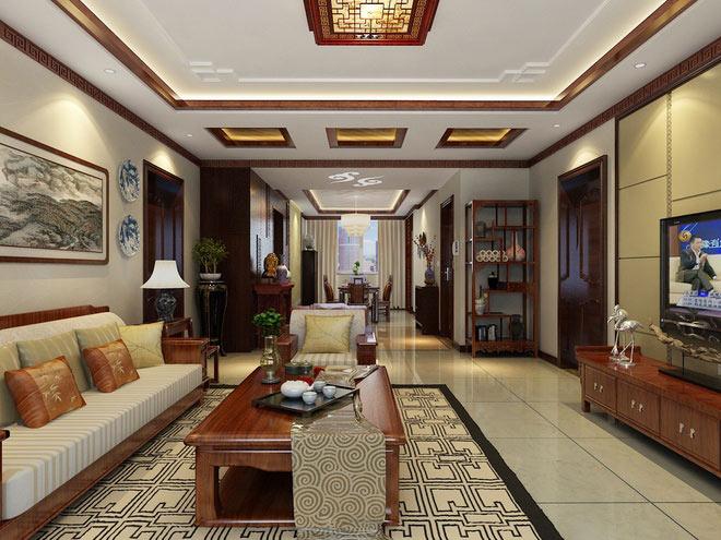 中式风格公寓古典130平米客厅装修效果图