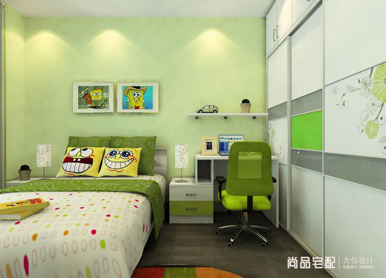 清新綠色兒童房效果圖