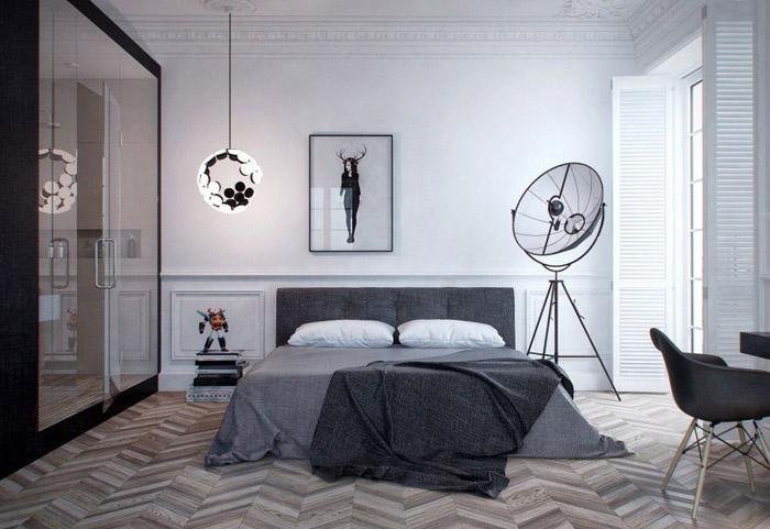 现代简约风格单身公寓艺术40平米卧室装修高清图片