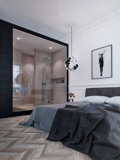 现代简约风格单身公寓艺术40平米装修图片高清图片
