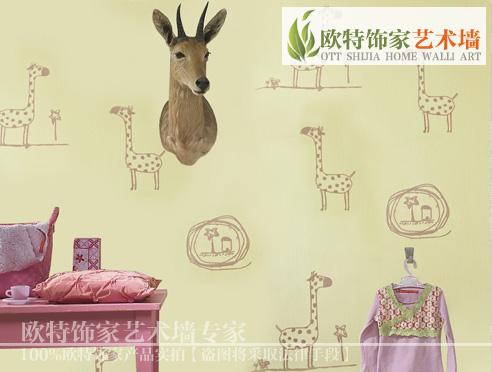 欧式卡通画 儿童卧室壁纸