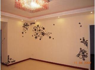 美式乡村蝴蝶角花客厅壁纸