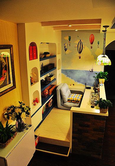 地中海风格二居室温馨10-15万80平米榻榻米设计图