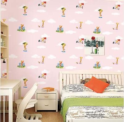 可愛卡通小布熊 兒童房背景墻壁紙