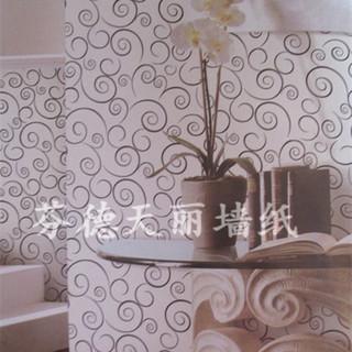 现代简约圆线条带拉丝纹 客厅卧室壁纸