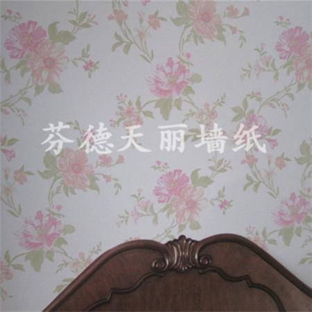 田园大花朵风格墙纸 卧室背景墙壁纸