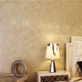 田园风格树叶小花朵 客厅卧室壁纸