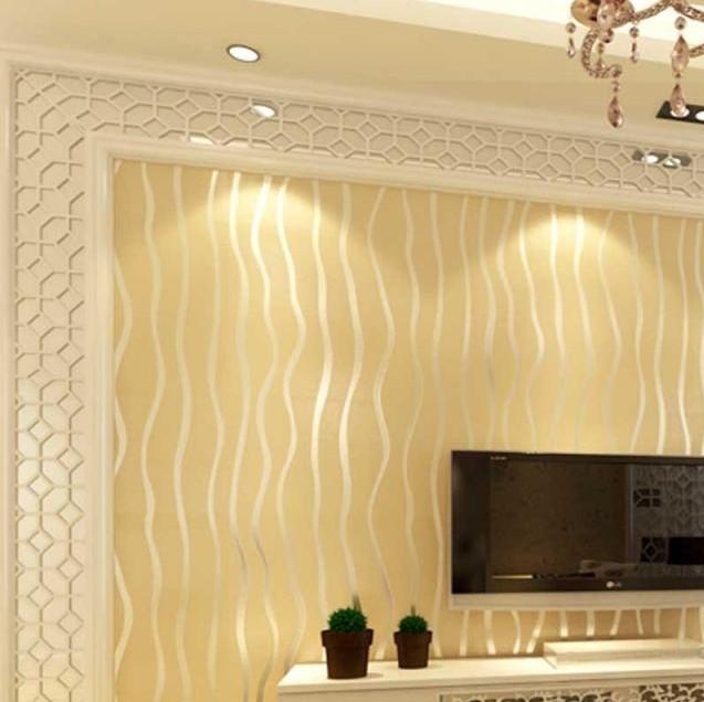 简约现代中式植绒墙纸 卧室客厅背景墙壁纸