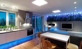 简约风格小户型50平米客厅灯具电视背景墙餐厅灯效果图