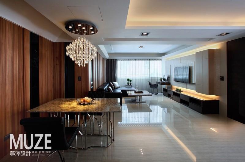 简约风格二居室简洁大理石餐桌图片