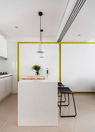 现代简约风格公寓温馨白色吧台椅婚房家装图