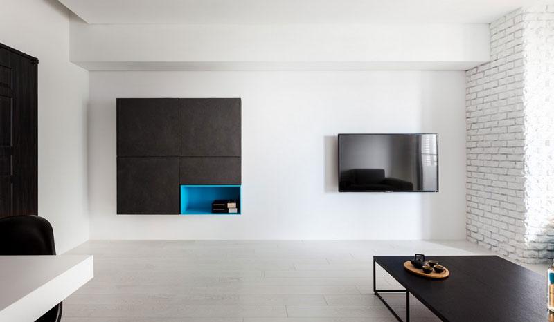 现代简约风格公寓白色电视背景墙装修效果图