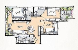 混搭风格三居室小清新100平米设计图