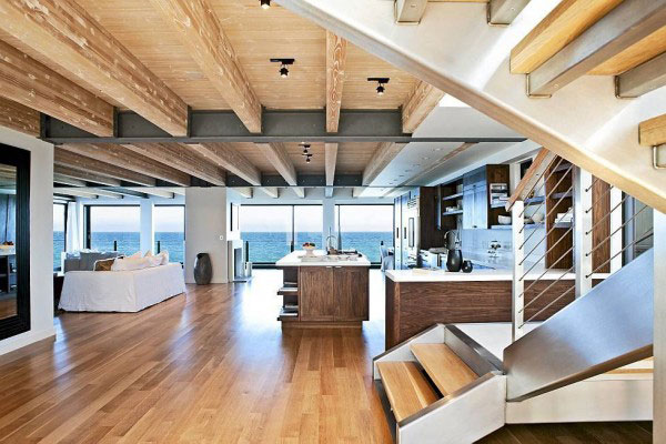 现代简约风格实用原木色实木楼梯明星家居