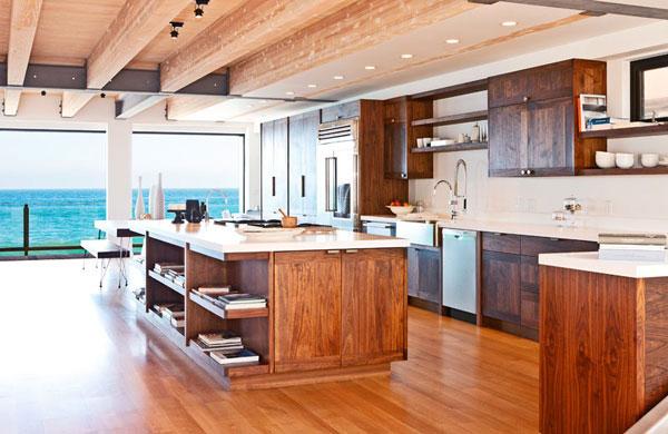 现代简约风格实用原木色厨房明星家居