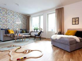 簡約北歐裝飾的三室公寓效果圖