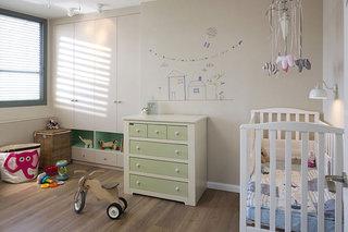 现代简约风格公寓古典白色婴儿房婴儿床效果图