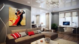 混搭风格四房豪华型客厅电视背景墙装修图片