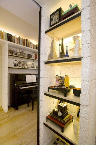 现代简约风格公寓温馨厨房推拉门收纳柜效果图