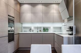 现代简约风格公寓舒适灰色整体厨房装修效果图