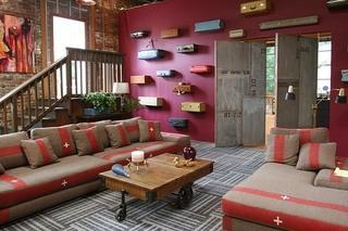 混搭风格四房以上艺术客厅旧房改造家装图片