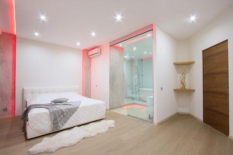 现代简约风格一居室舒适冷色调120平米卧室灯光效果图