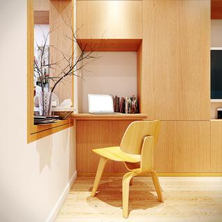 现代简约风格小户型温馨工作区设计图