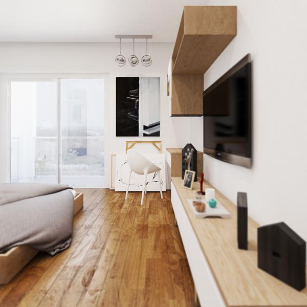 现代简约风格小户型温馨电视背景墙设计