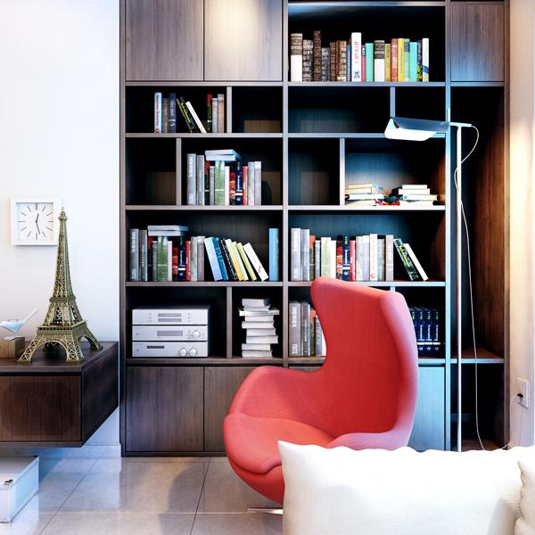 现代简约风格小户型温馨书柜效果图高清图片