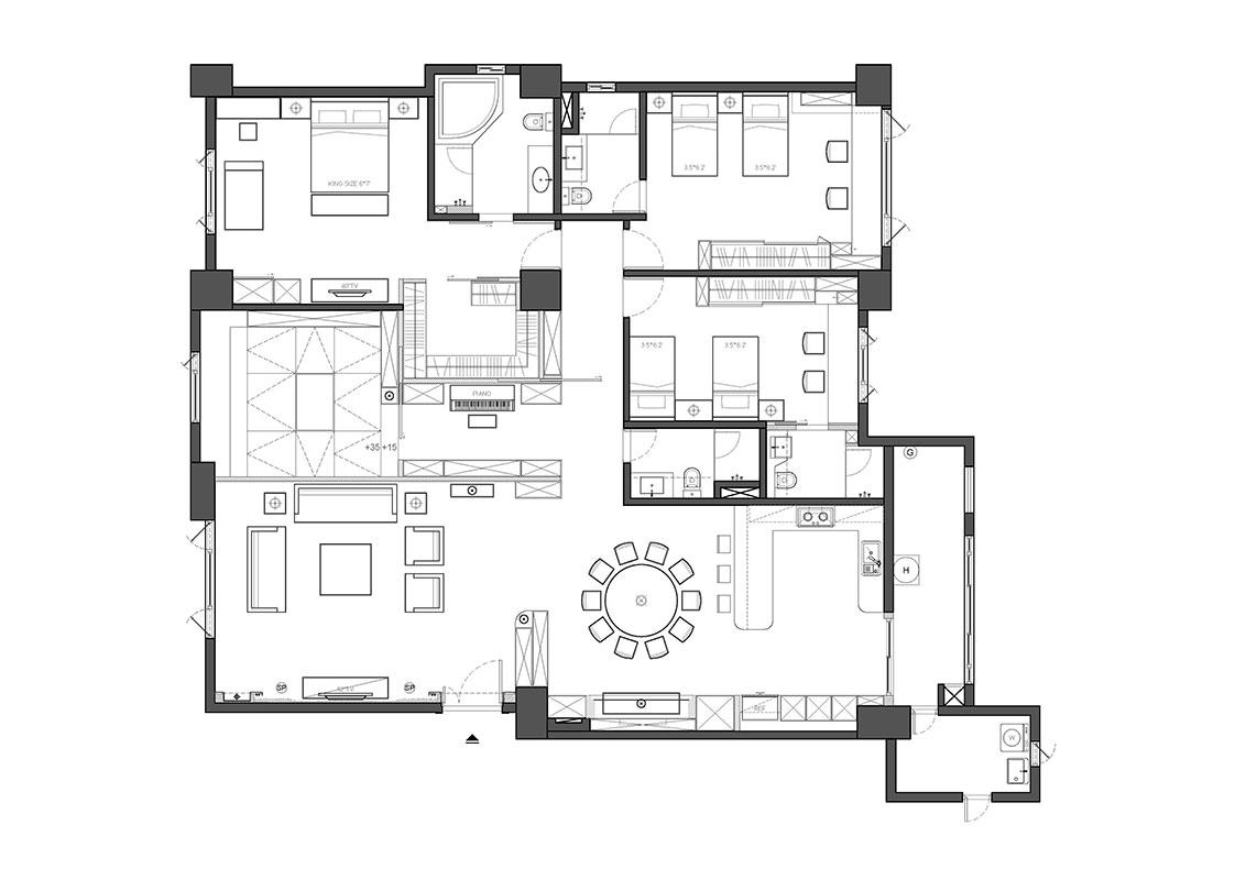 欧式风格公寓奢华户型图