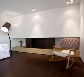 现代简约风格复式舒适艺术玻璃背景墙椅子图片